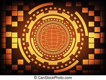 Vintage old light gold circle of globe ring and gears in technology background. Vector illustration design communication concept.