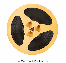 Vintage old magnetic audio tape reel isolated