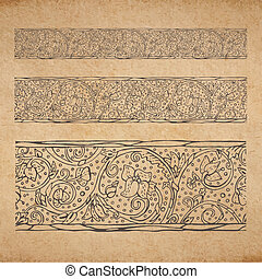 Vintage old paper texture background with floral ornamental seamless border, scrapbooking victorian style decorative elements page, hand drawn vector illustration