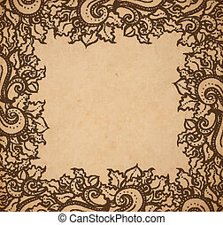 Vintage old paper texture background with floral ornamental frame , scrapbooking victorian style page, hand drawn vector illustration