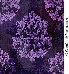 Vintage old paper texture Vector. Luxury baroque pattern wallpaper ornament decor. Textile, fabric, tiles. Violet colors