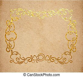Vintage old paper texture with golden ink decorative ornate frame