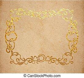 Vintage old paper texture with golden ink decorative ornate frame