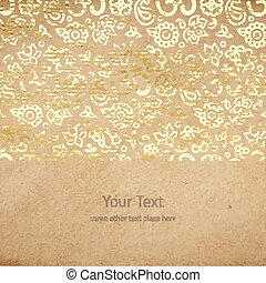 Vintage old paper texture with goldenfoil mandalas