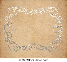 Vintage old paper texture with silver ink decorative ornate frame