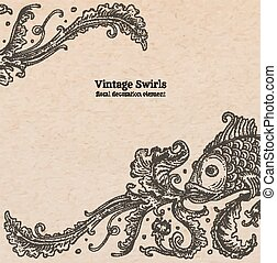Vintage old paper texture with vector detailed art-nouveau decorative engraved floral marine ornament, hand drawn fish and swirls