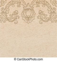Vintage old paper texture with vector detailed art-nouveau decorative engraved floral ornament, hand drawn element