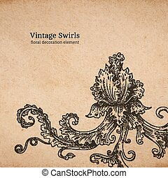 Vintage old paper texture with vector detailed art-nouveau decorative engraved floral ornament, hand drawn element