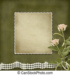 Vintage old postcard for congratulation with roses and pearls