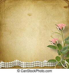 Vintage old postcard for congratulation with roses and...
