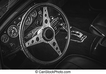 Vintage Old Sport Car Interior Black and White