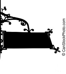 vintage old store front sign with elegant curls and chain in black and white