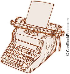 Vintage Old Style Typewriter Etching