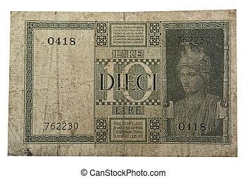 vintage old ten lira in the white