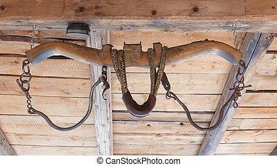 Vintage old wooden rustic ox yoke decoration