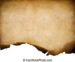 Vintage old worn paper texture with burnt edge background