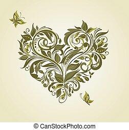 Vintage olive floral heart