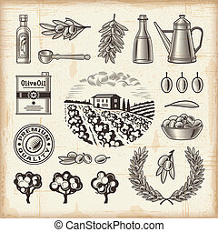 A set of fully editable vintage olive harvest elements in woodcut style. EPS10 vector illustration with clipping mask.