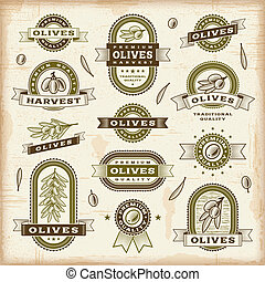 Vintage olive labels set