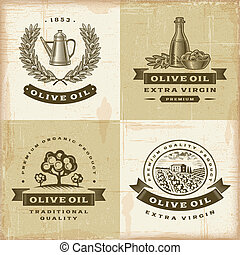 Vintage olive oil labels set - label, olive, oil, vintage,...