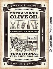 Vintage olive oil poster