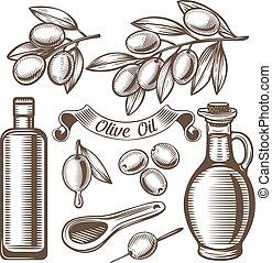 Vintage olive oil set.
