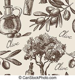 Vintage olive seamless pattern. Hand drawn illustration