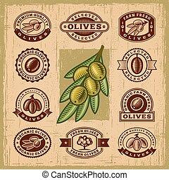 Vintage olive stamps set