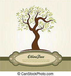 Vintage olive vector - Olive tree vector template for label...