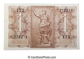 Vintage one italian lire on white