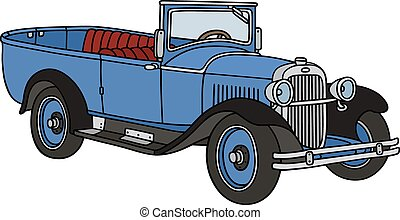 Vintage open autocar - Hand drawing of a vintage blue small...