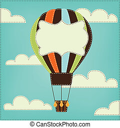 Vintage or retro hot air balloon in sky with clouds