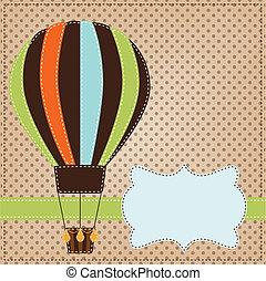 Vintage  or retro hot air balloon on polka dot background