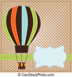 Vintage  or retro hot air balloon on polka dot background