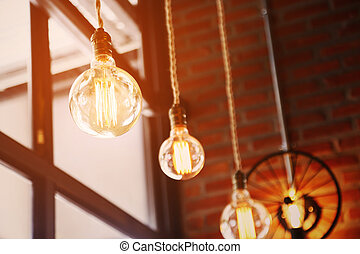 Vintage or retro lamp on old wall