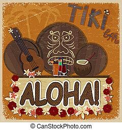 Vintage orange card - signboard tiki bar - with the image ukulele, drums and masks. eps10