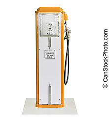 Vintage orange fuel pump on white background - Old orange...