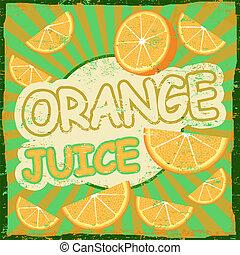 Vintage orange juice retro poster
