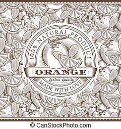 Vintage Orange Label On Seamless Pattern