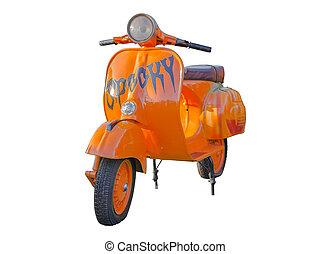 Vintage Orange Vespa isolate on white background
