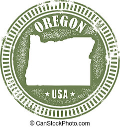 Vintage Oregon State Stamp - Distressed style Oregon USA...
