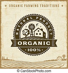 Vintage Organic 100% Natural Product Label