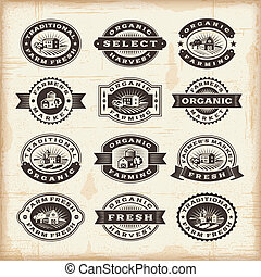 A set of fully editable vintage organic farming stamps in woodcut style. EPS10 vector illustration.
