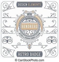 Vintage Ornament and Retro Badge. Design Elements