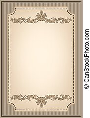 Vintage ornament frame and decorative ribbon in retro style...