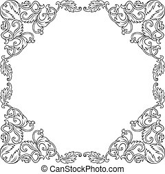 Vintage ornament frame in retro style