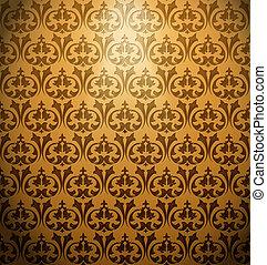 Vintage ornament gold background. Vector