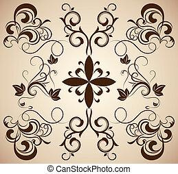 Vintage ornament with floral design elements.