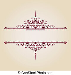 Vintage decorative text banner on brown background, very easy to edit in vector format