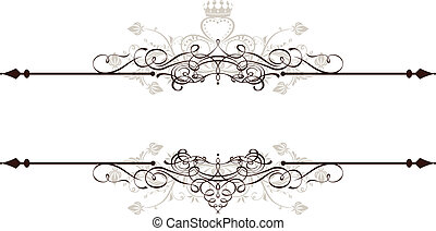 Vintage decorative text banner on white, very easy to edit in vector format